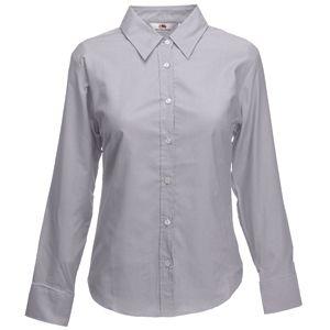 Рубашка «Lady-Fit Long Sleeve Oxford Shirt», светло-серый_L, 70% х/б, 30% п/э, 135 г/м2