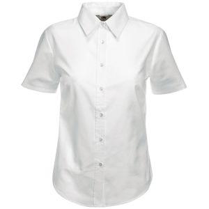 """Рубашка """"Lady-Fit Short Sleeve Oxford Shirt"""", белый_S, 70% х/б, 30% п/э, 130 г/м2"""