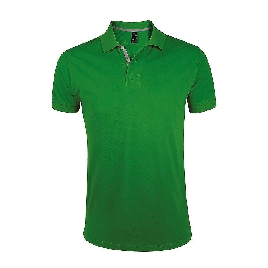 Поло «Portland Men» зеленый, серый_S, 100% х/б, 200г/м2