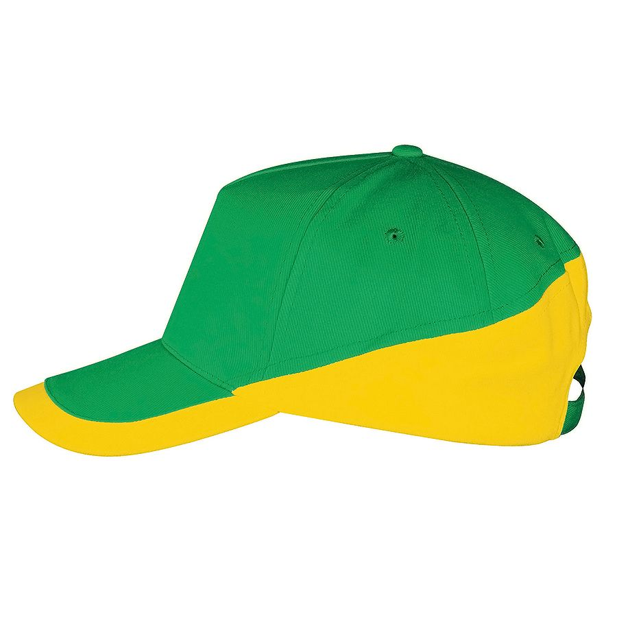 Бейсболка «Booster» 5 клиньев, желто-зеленый, белый, 100% хлопок с начесом, 260г/м2