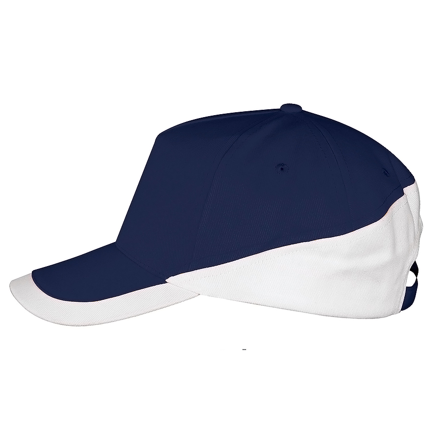 Бейсболка «Booster» 5 клиньев, темно-синий, белый, 100% хлопок с начесом, 260г/м2