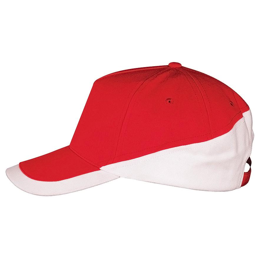 Бейсболка «Booster» 5 клиньев, красный, белый, 100% хлопок с начесом, 260г/м2