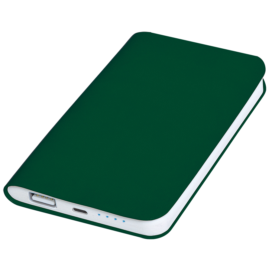 Универсальное зарядное устройство «Softi» (4000mAh),зеленый, 7,5х12,1х1,1см, искусственная кожа,пл
