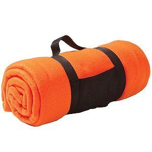 Плед «Color»; оранжевый; 130х150 см; флис 220 гр/м2; шелкография, вышивка