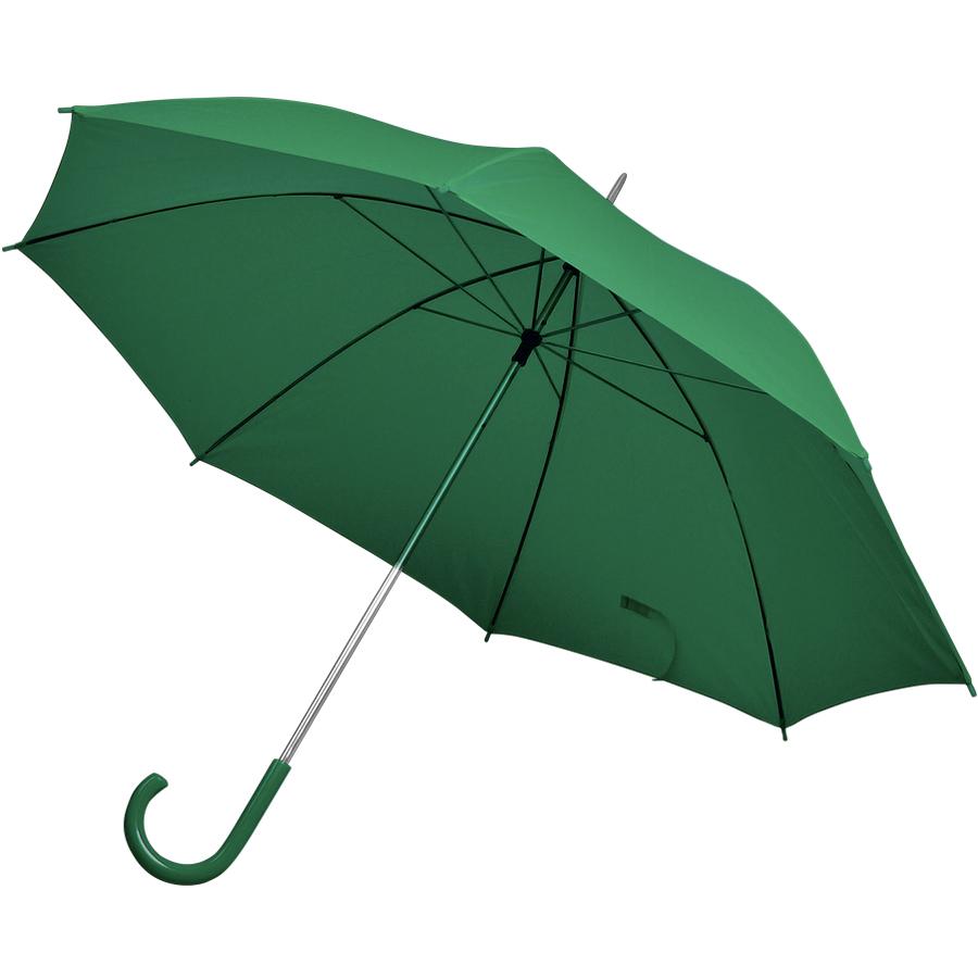 Фотография товара Зонт-трость с пластиковой ручкой, механический; зеленый; D=103 см; нейлон; шелкография