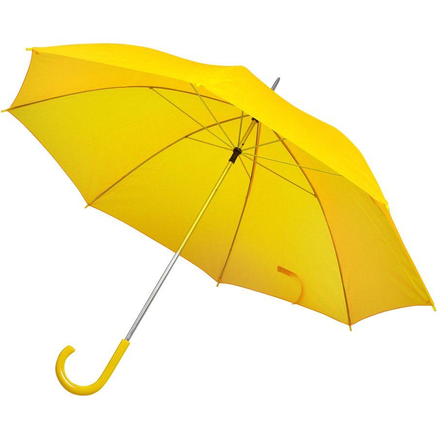 Фотография товара Зонт-трость с пластиковой ручкой, механический; желтый; D=103 см; нейлон; шелкография