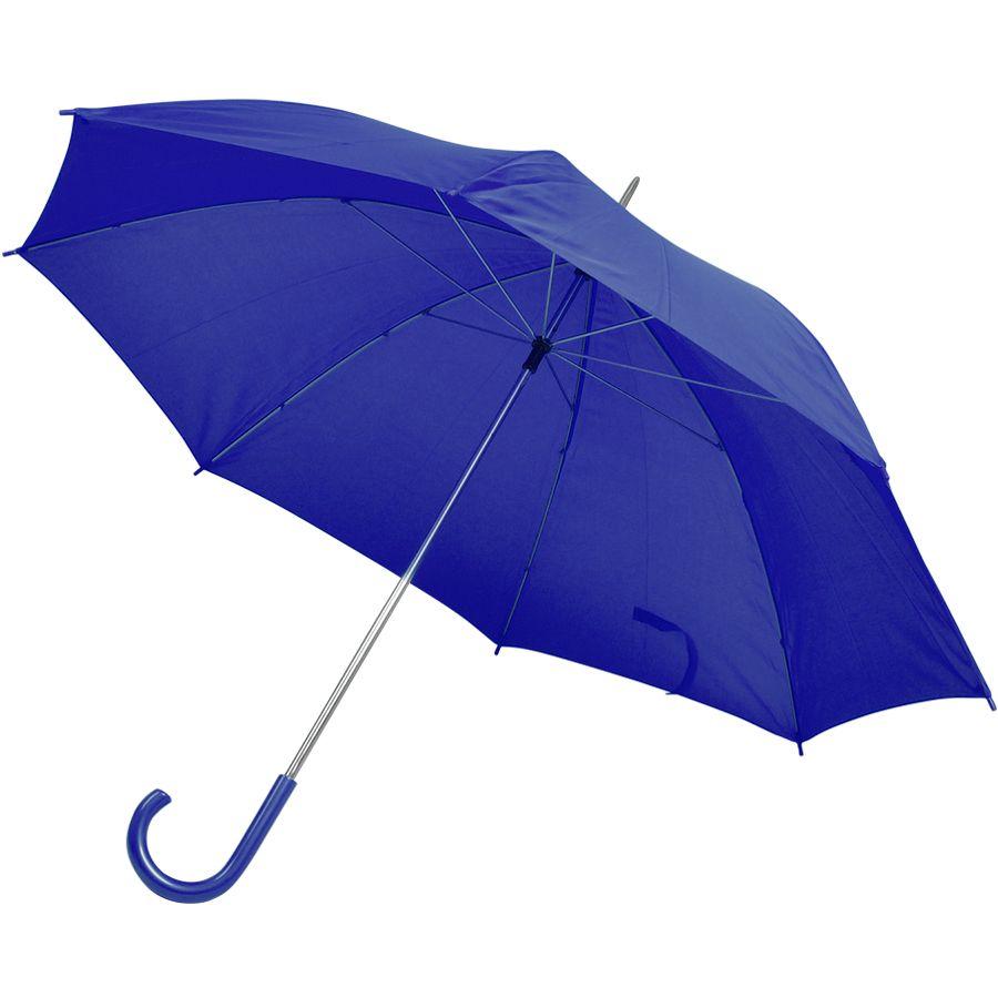 Фотография товара Зонт-трость с пластиковой ручкой, механический; синий; D=103 см; нейлон; шелкография