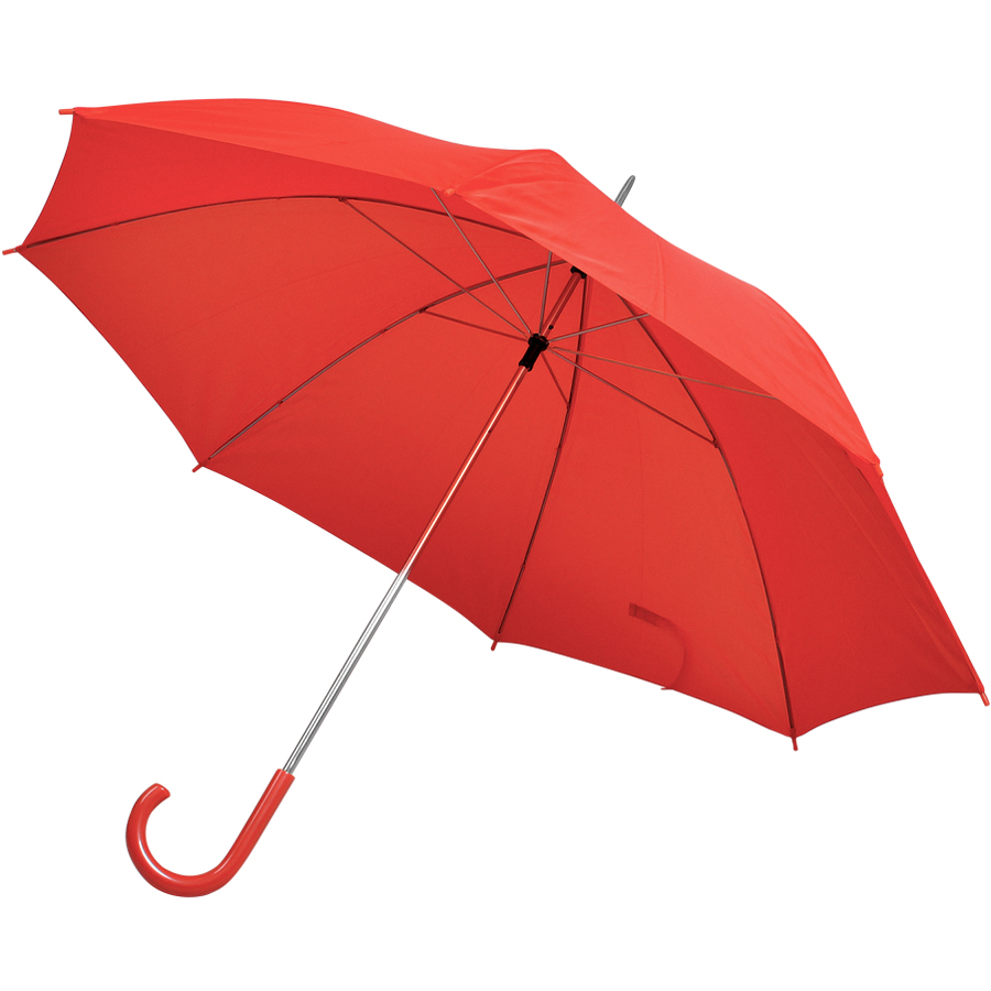 Фотография товара Зонт-трость с пластиковой ручкой, механический; красный; D=103 см; нейлон; шелкография