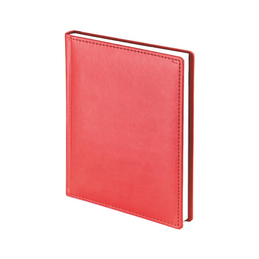 Ежедневник недатированный Velvet, А6+, красный, белый блок, без обреза, ляссе