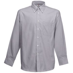 "Рубашка ""Long Sleeve Oxford Shirt"", светло-серый_M, 70% х/б, 30% п/э, 135 г/м2"