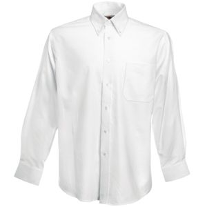 "Рубашка ""Long Sleeve Oxford Shirt"", белый_L, 70% х/б, 30% п/э, 130 г/м2"