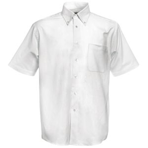 "Рубашка ""Short Sleeve Oxford Shirt"", белый_M, 70% х/б, 30% п/э, 130 г/м2"