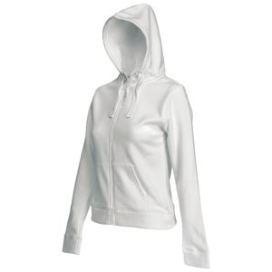 "Толстовка ""Lady-Fit Hooded Sweat Jacket"", белый_M, 75% х/б, 25% п/э, 280 г/м2"